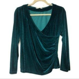 Soft Surroundings (S) Green Velour Wrap Top
